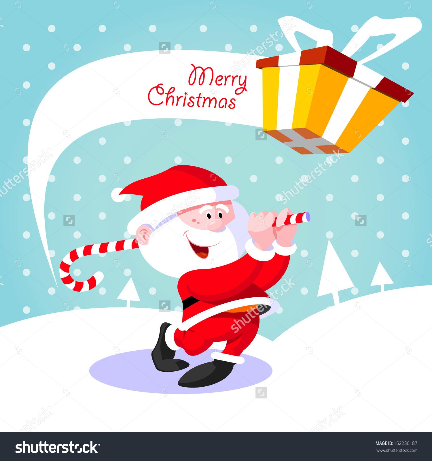 Happy Santa Claus. Creative Christmas Card. Santa Claus Golfer.