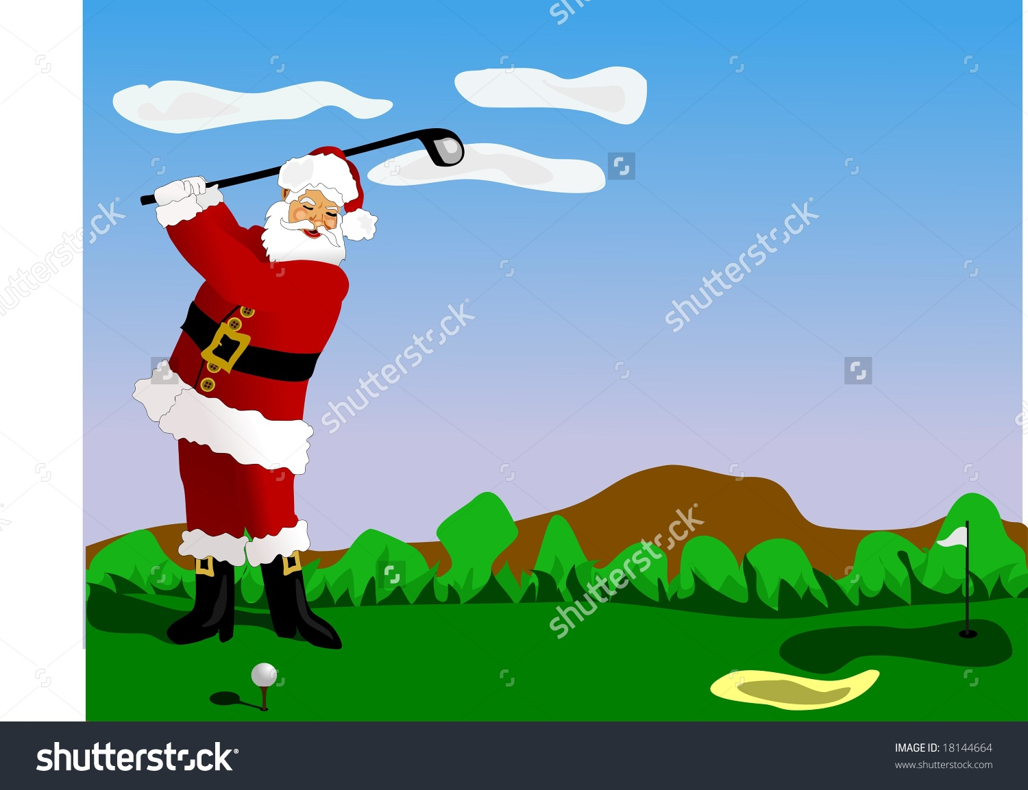 Santa Claus Playing Golf. Stock Photo 18144664 : Shutterstock.