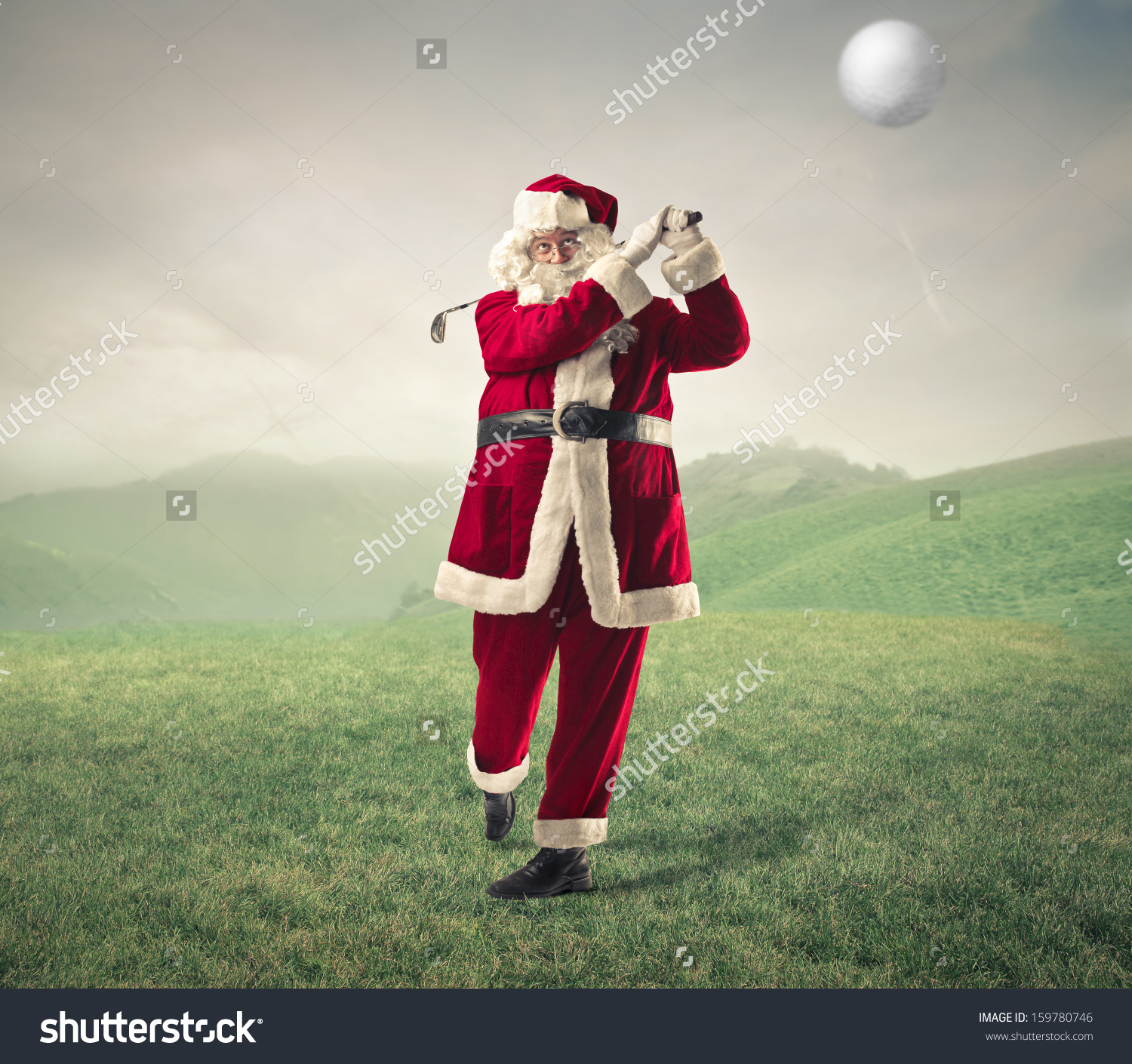 Santa Claus Playing Golf Stock Photo 159780746 : Shutterstock.