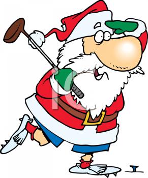 Royalty Free Clip Art Image: Cartoon of Santa Claus Playing a.