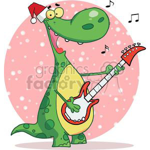 Dinosaur Plays Guitar and Singing with Santa Hat with a Pink Sphere with  Snow Falling in Background clipart. Royalty.