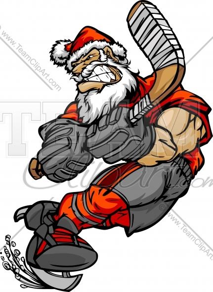 Santa Claus Hockey Clipart Image. Vector Format..