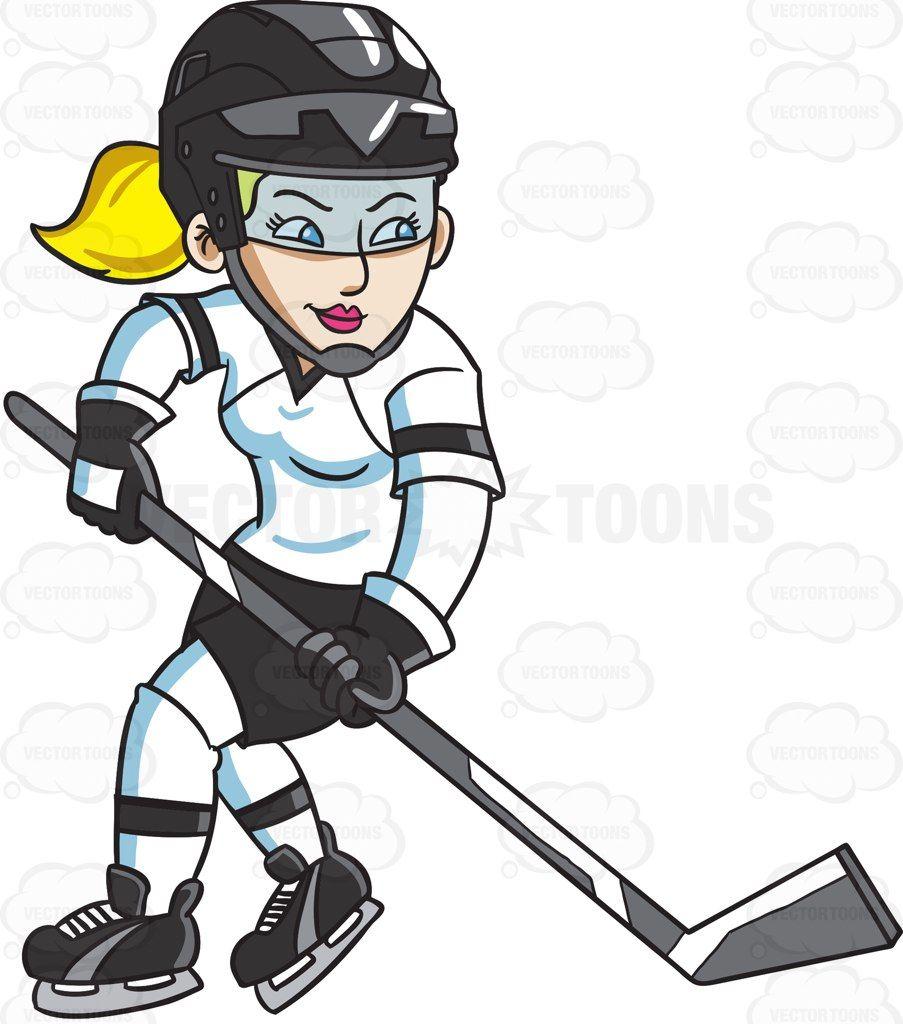 A female hockey player swirls into the ice rink #cartoon.