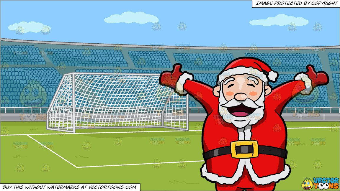 Santa Claus Rejoicing The Christmas Holiday and A Soccer Field With Stadium  Seating Background.