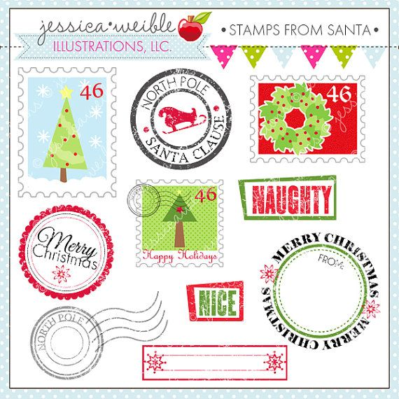 Stamps from Santa Cute Digital Clipart.