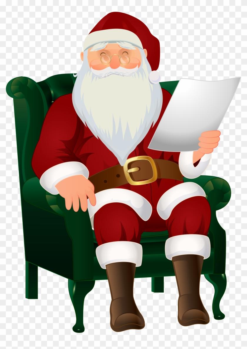 Free Png Santa Reading & Free Santa Reading.png Transparent.