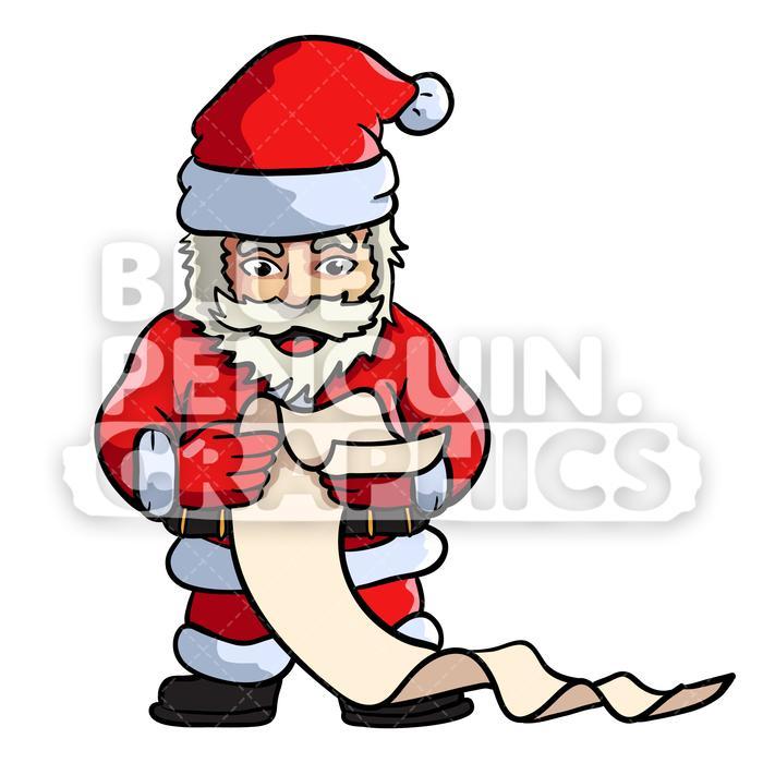 Santa Reading Gift List Vector Cartoon Clipart Illustration.