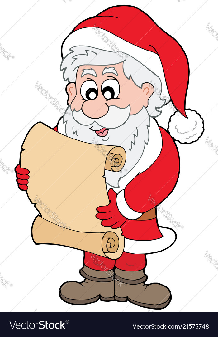 Santa claus reading parchment.