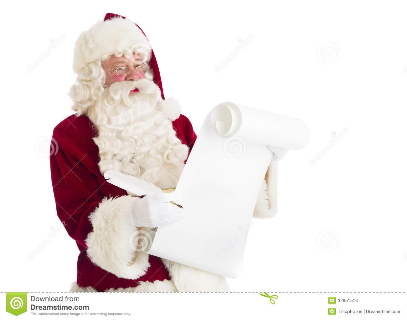Santa Claus Reading List Royalty Free Stock Image.