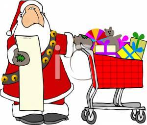 Santa Claus With List Clipart.