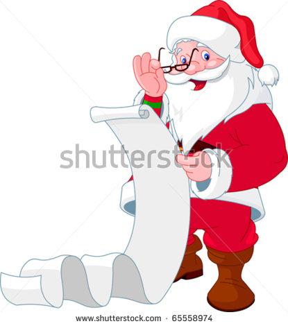 Santa Reading List Clipart.
