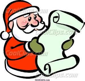 Santa reading his list Vector Clip art.