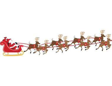 Santa and reindeer clipart christmas image 2.