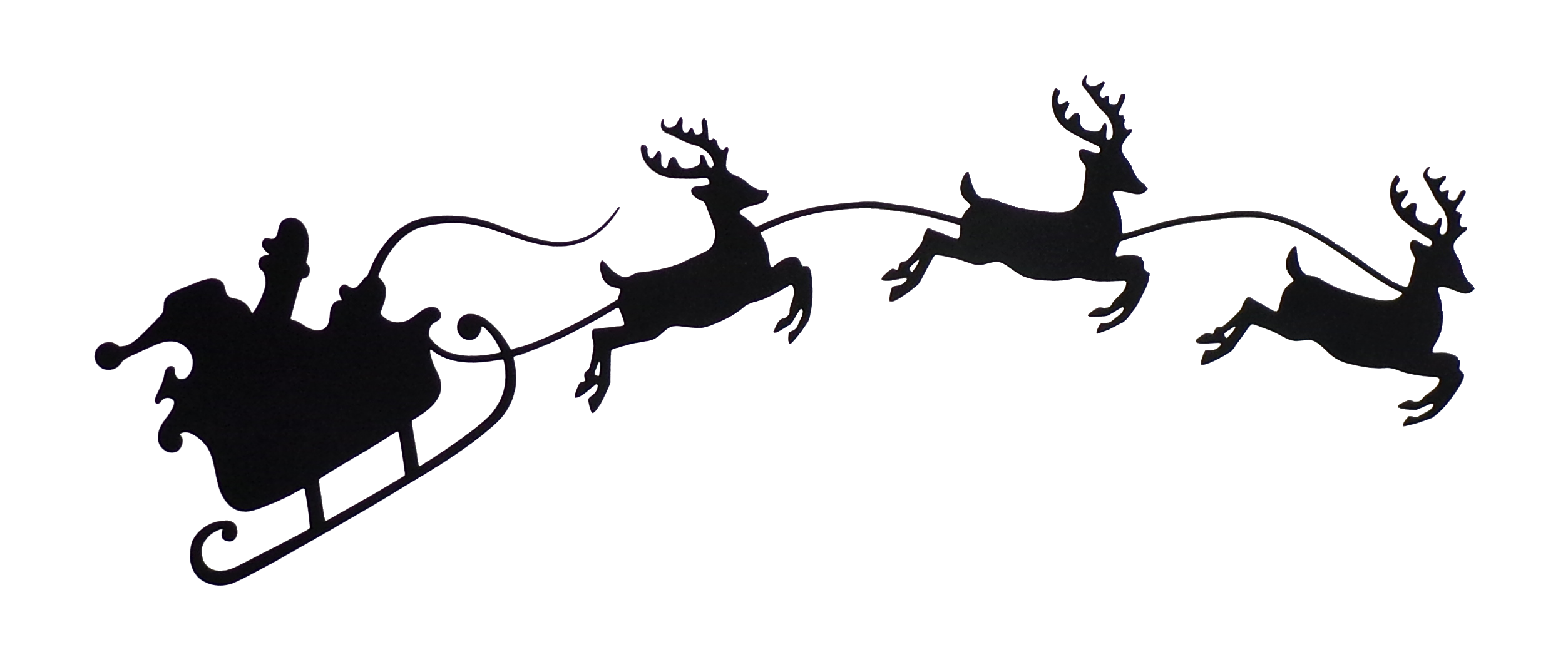Silhouette Santa And Reindeer Clipart.