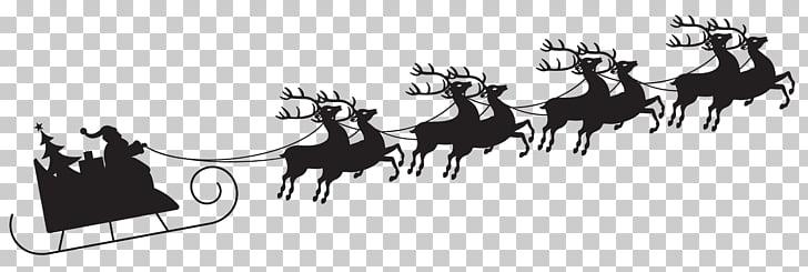 Santa Claus Reindeer Christmas , Sleigh Silhouette s PNG.