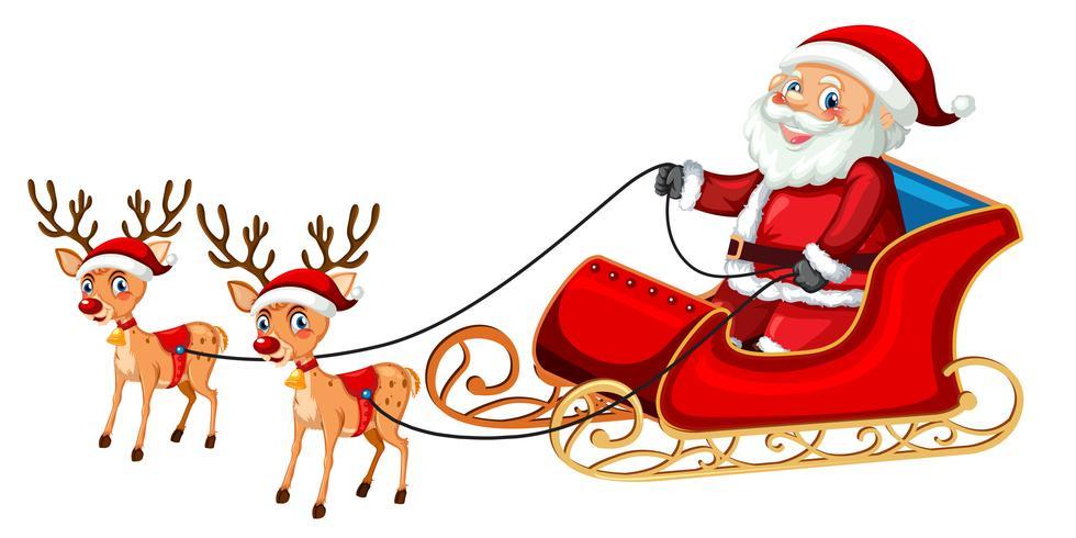 Santa claus riding sleigh.
