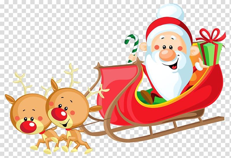 Santa Claus riding sled , Santa Claus\'s reindeer Sled , Cute.