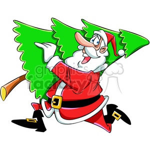 cartoon santa running with christmas tree vector art clipart. Royalty.