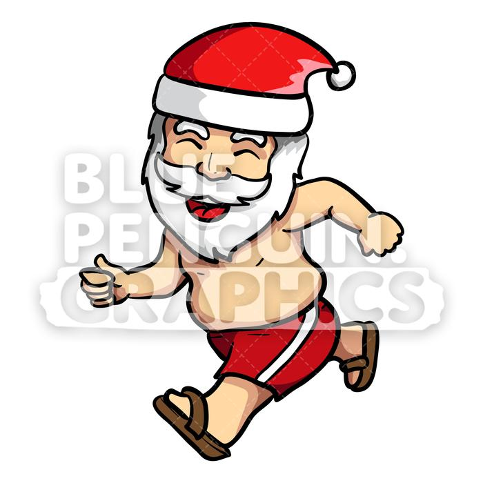 Summer Santa Running with a Happy Face Vector Cartoon Clipart.