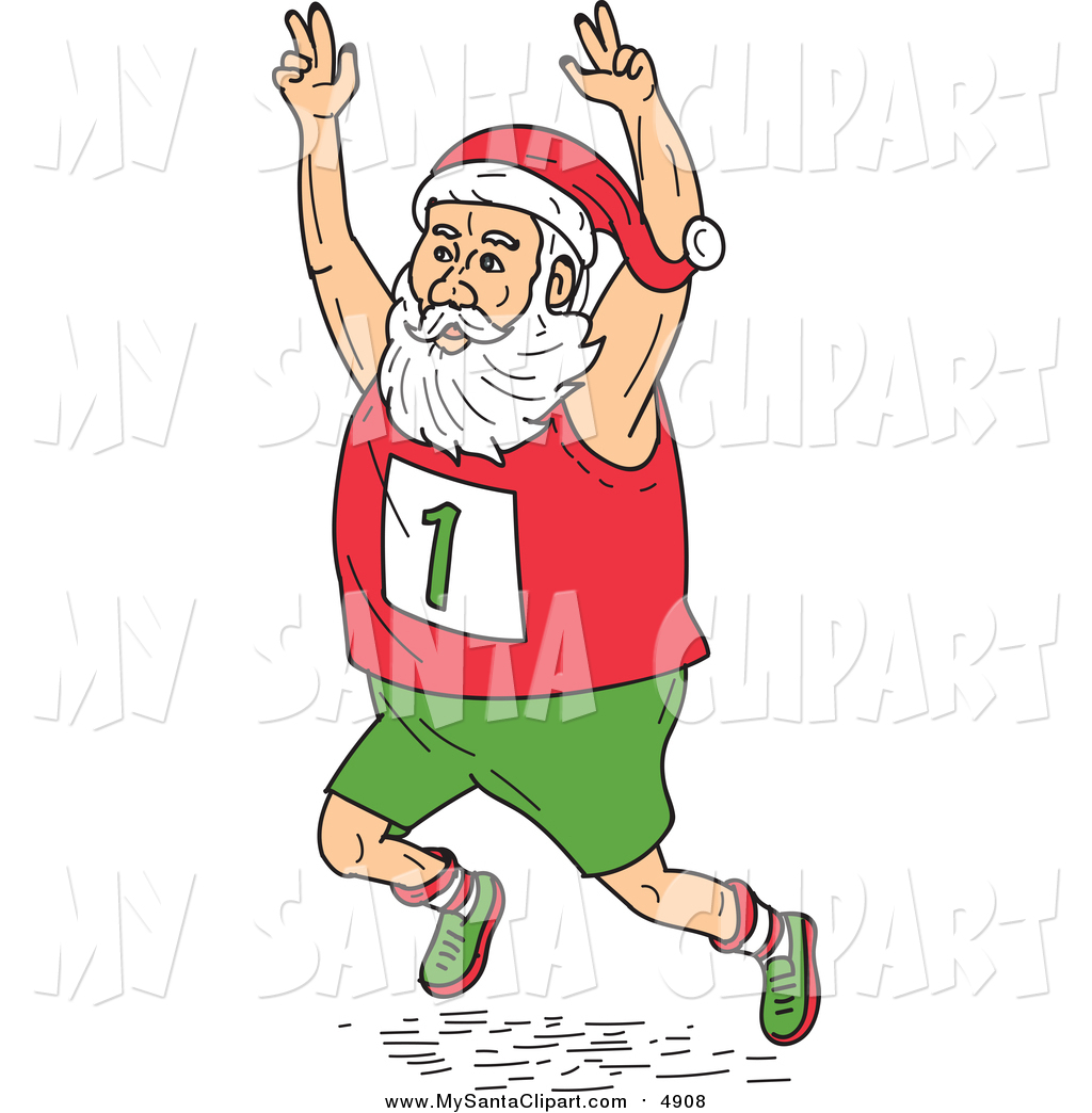 Cartoon Clip Art of Healthy Santa Running Marathon by.
