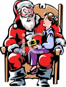 Cartoon of a Young Girl Sitting on Santa\'s Lap Discussing.