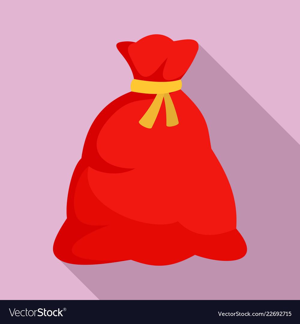 Santa sack icon flat style.