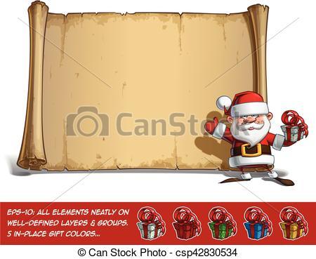 Vectors of Happy Santa Scroll.