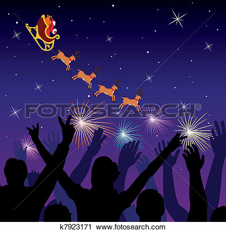 Clipart of people saluting flying santa k7923171.