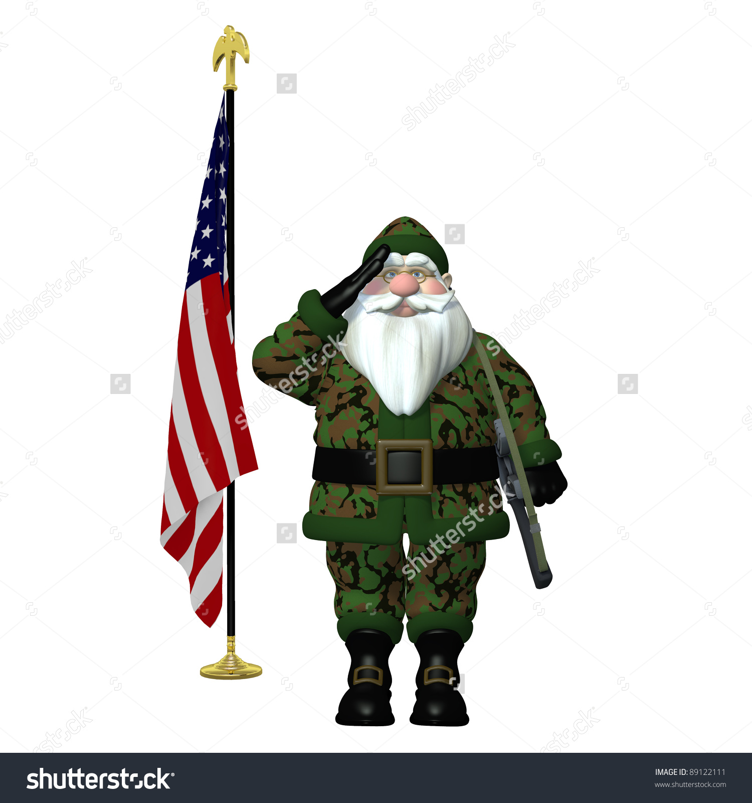 Military Santa Saluting Santa, Next To An American Flag, Wearing.