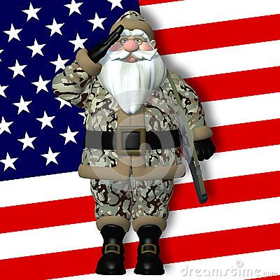 Military Santa Stock Photo.