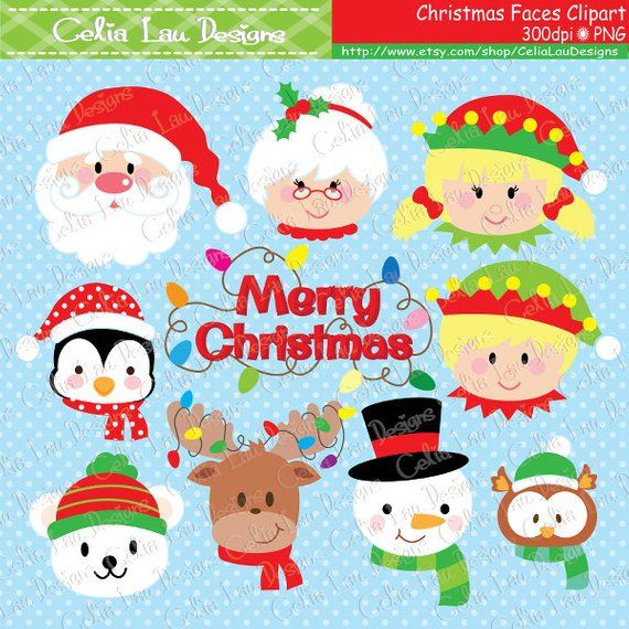 Christmas faces clipart, Christmas Santa , elf , snowman.