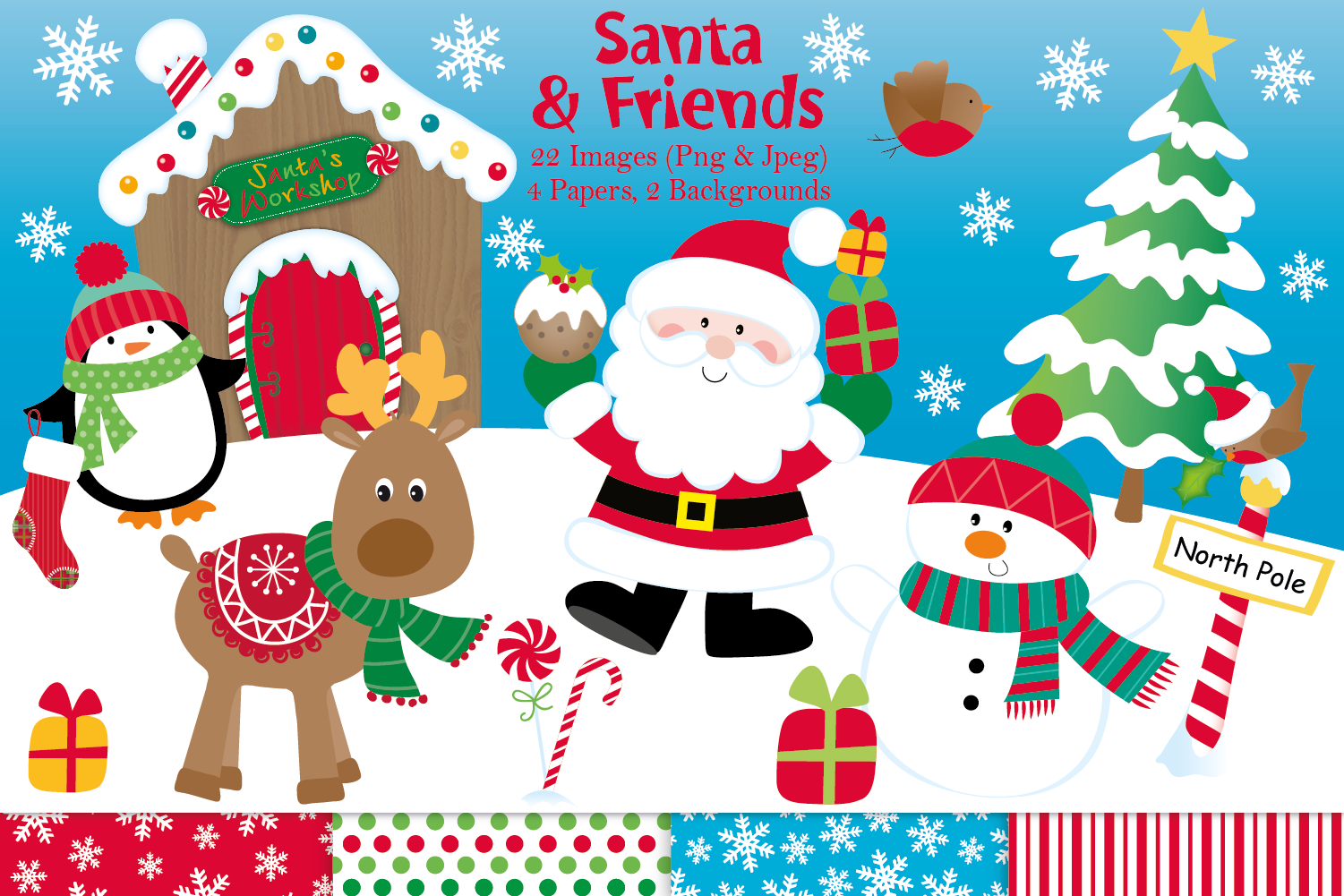 Christmas clipart, Christmas graphics & illustrations, Santa.
