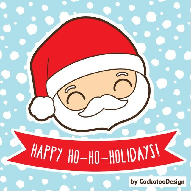 Kawaii Santa Claus clipart, kawaii Christmas clipart, Santa.
