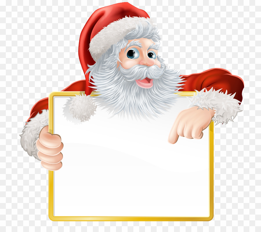 Santa Holding A Sign PNG Santa Claus Christmas Day Clipart.