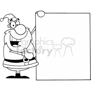 black and white Santa holding a sign clipart. Royalty.