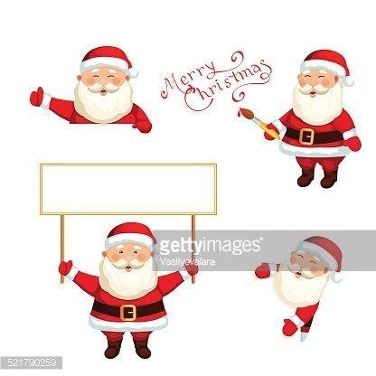 Santa Claus Holding A Blank Sign premium clipart.