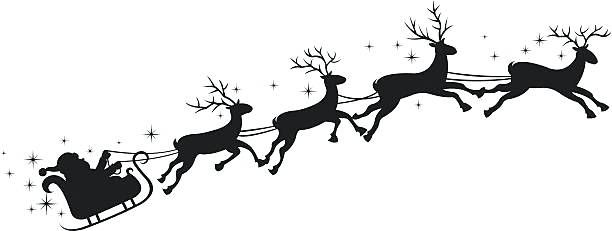 Santa And Sleigh Silhouette Clip Art Santa And Sleigh.