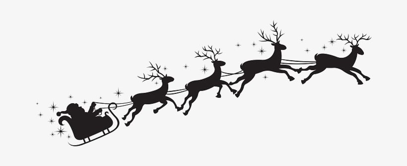 Santa Sleigh Silhouette Png Transparent PNG.