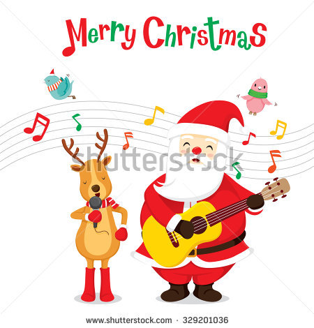 santa singing clipart #11