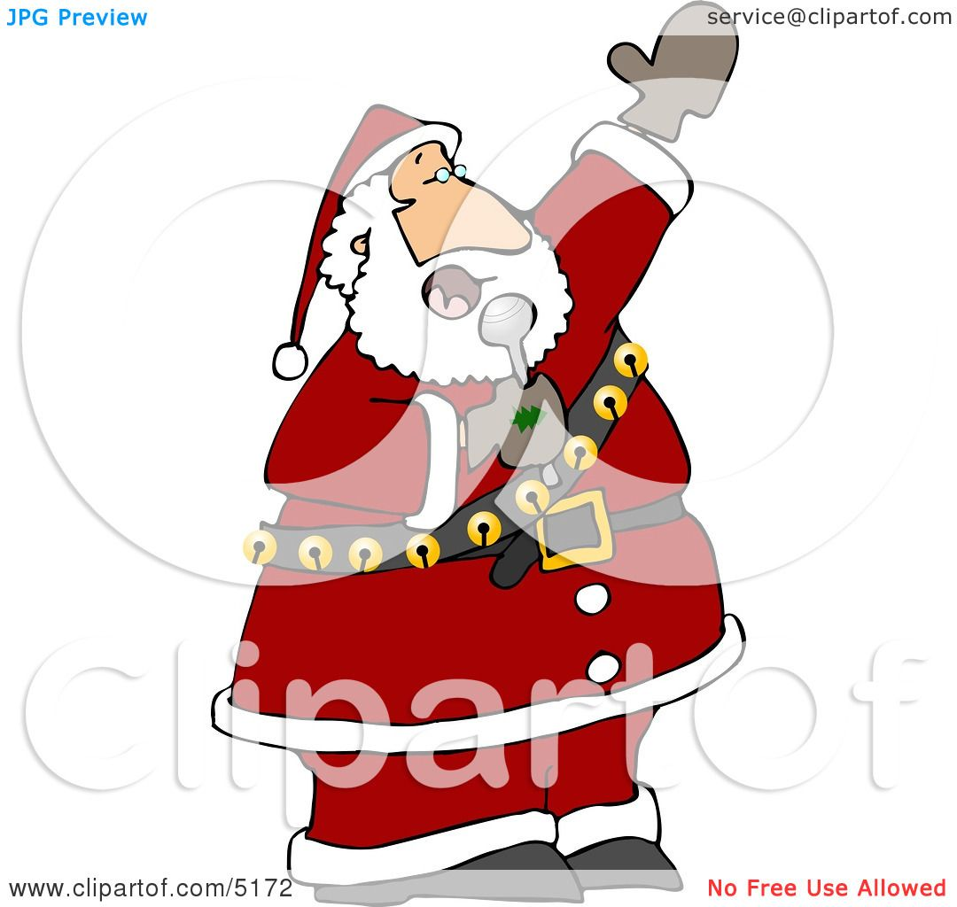 Santa Singing Karaoke Christmas Music Clipart by Dennis Cox #5172.