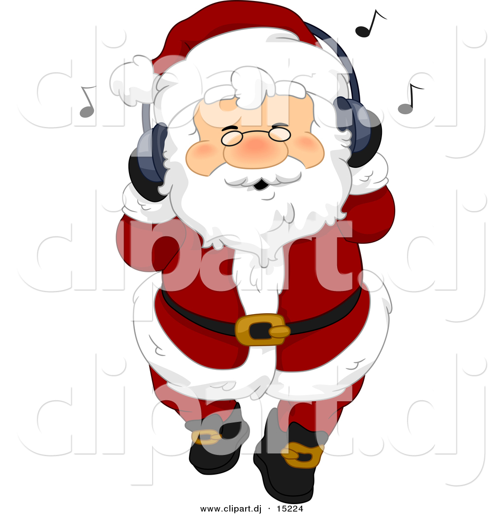 Vector Clipart of a Jolly Cartoon Santa Claus Listing to Christmas.