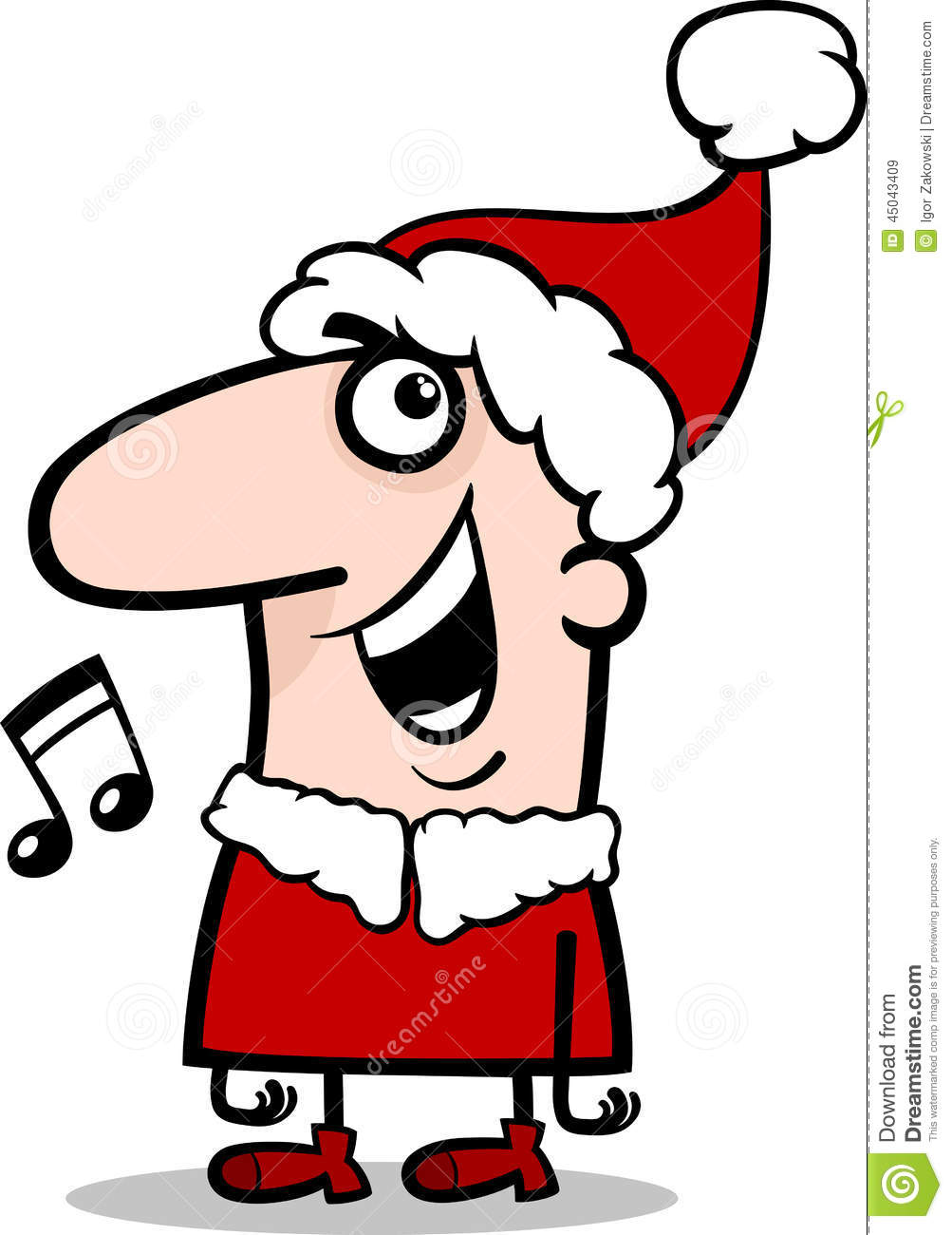 Santa Singing Carol Cartoon Illustration Stock Vector.
