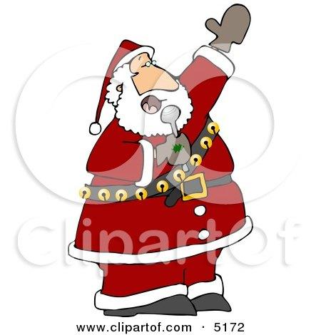 Santa Singing Karaoke Christmas Music Clipart by Dennis Cox #5172.