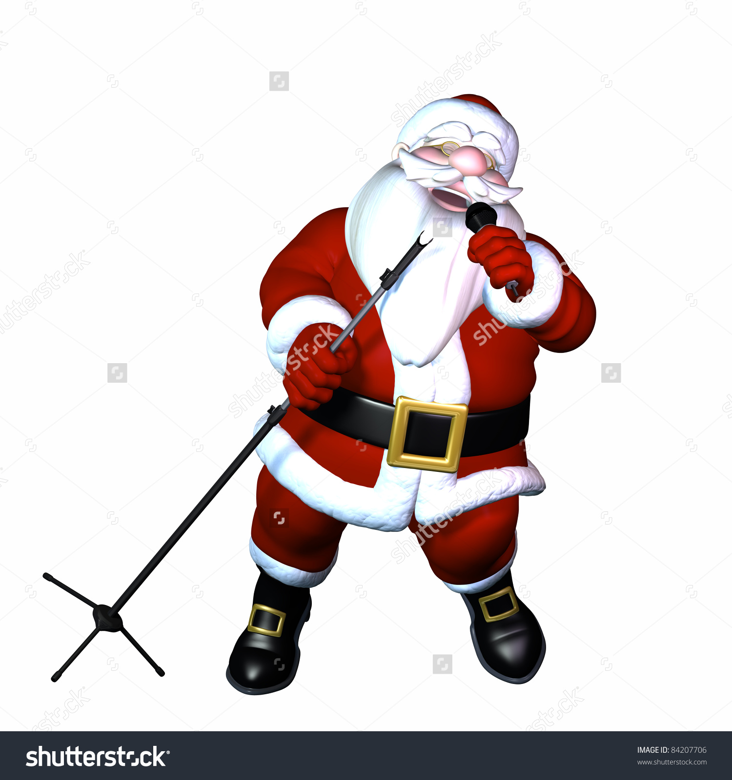 Santa Singing With His Eyes Closed, Holding A Wireless Microphone.