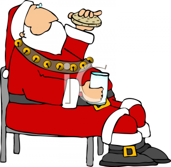 Clipart Picture Of Santa Claus Sitting Down Eating A Cookie.