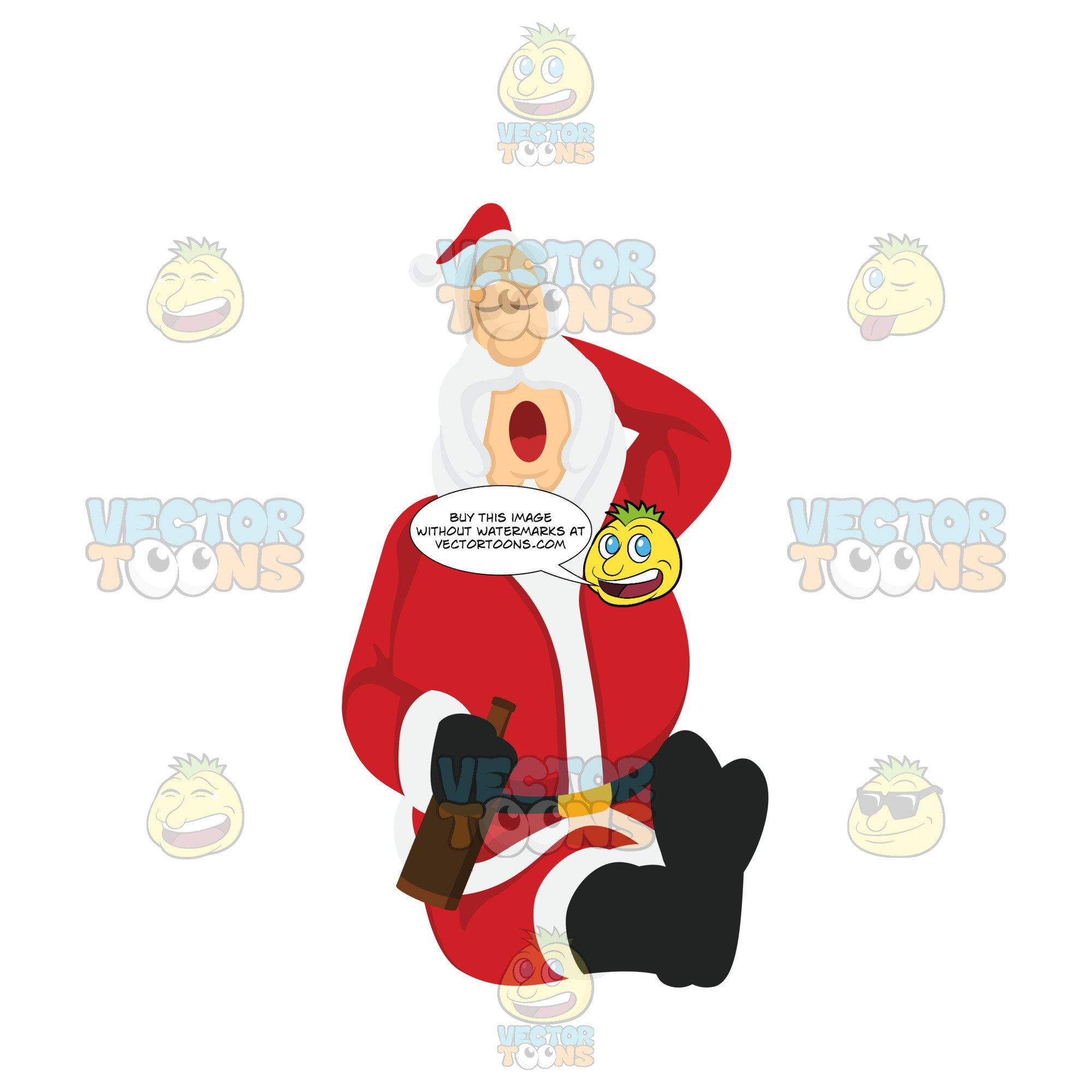 Santa Claus Sitting Down And Sleeping While One Hand Is Behind His Head And  The Other Holds A Beer.
