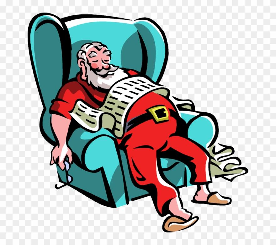 Vector Illustration Of Santa Claus Takes Break Resting.