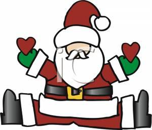 Cartoon of a Santa Claus Sitting Down with His Legs Apart.