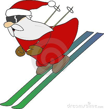Santa On Skis Clipart.