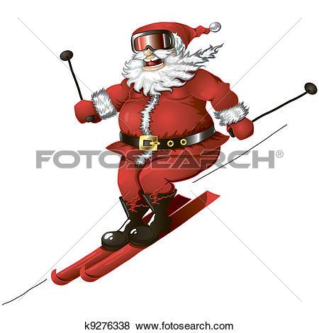 santa skiing clipart #15